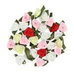 Mini ribbon roses - set of 30