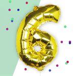 Ginger Ray for Paperchase Number 6 gold 16 inch balloon