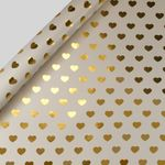 Gold hearts wrapping paper - 3 m