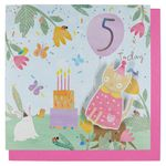 Woodland tea party 5th birthday card