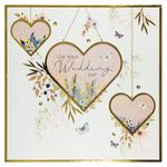 Hanging hearts wedding card
