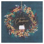 Merry Christmas green wreath Christmas cards - pack of 6