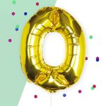 Ginger Ray for Paperchase Number 0 gold 16 inch balloon