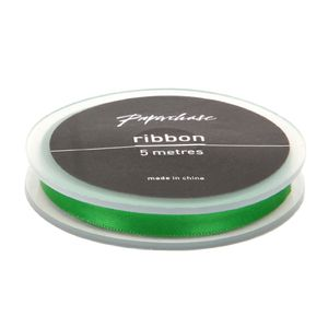 Classical green satin ribbon - 5 metres