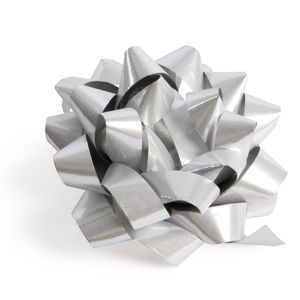 Silver glossy self-adhesive gift bow