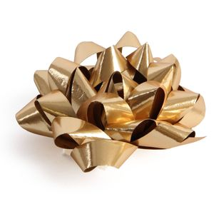 Gold glossy self adhesive gift bow