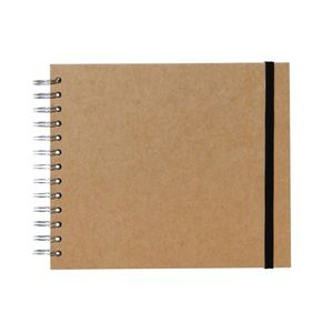 Kraft A5+ plain page wired notebook