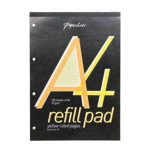 Yellow lined paper A4 refill pad