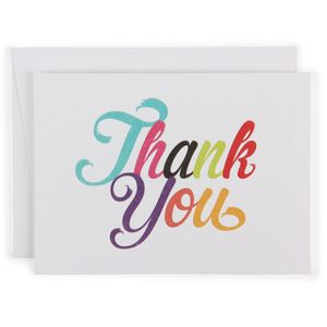 Multi colour thank you letterpress notecards - pack of 10