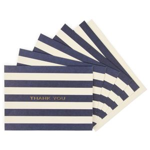 Navy stripe thank you cards - pack of 10