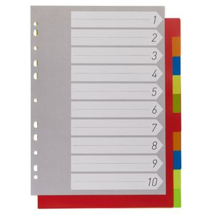 Coloured A4 subject dividers - set of 10