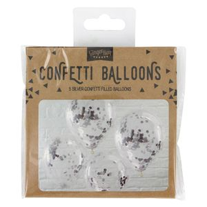 Silver confetti balloons - set of 5