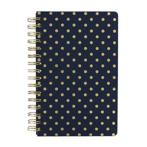 Navy spot lined A5 notebook