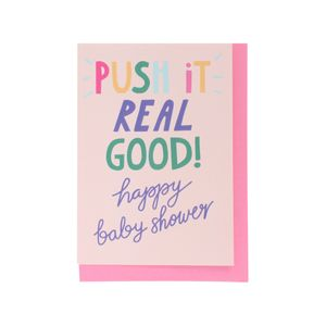 Push it baby shower card