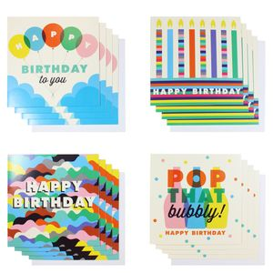 Bubbly birthday card assortment - pack of 16