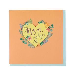 Nan floral heart Mother's Day card