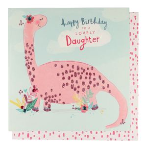 Pink dino daughter Birthday card