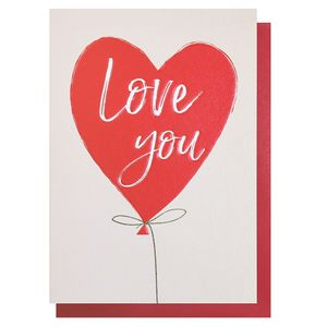 Love you heart balloon Valentine's Day card