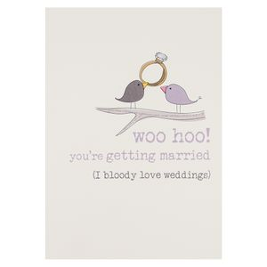 Birds woo hoo getting married engagement card