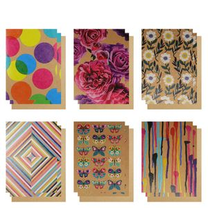 Kraft multi colour notecards - pack of 12