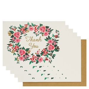Floral wreath thank you cards - pack of 10