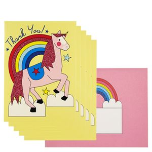 Pastel unicorn thank you cards - pack of 10