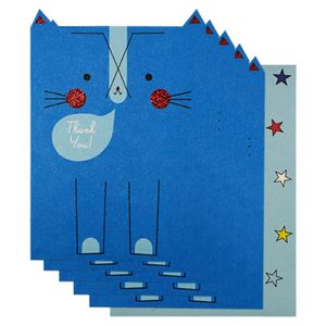 Blue rabbit thank you cards - pack of 10