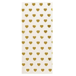 Gold foil hearts tissue - 3 sheets