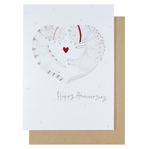 Hugging cats anniversary card