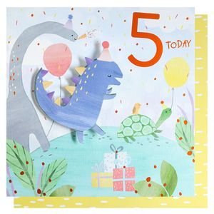 Dinosaur party 5th birthday card