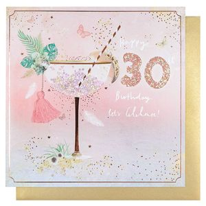 Glitter cocktail 30th birthday card