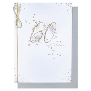 Glittery flowers 60th birthday card
