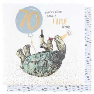 Turtle fine wine 70th birthday card