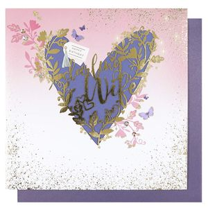 Gold heart darling wife birthday card