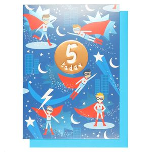 Kids 5th birthday superhero card