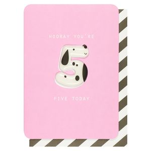 Numerology magnetic dog 5th birthday card