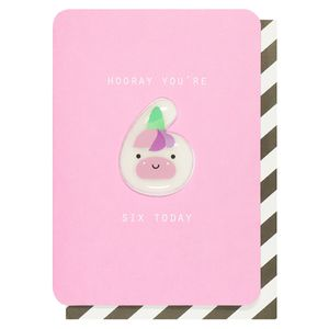 Numerology magnetic bunny 6th birthday card
