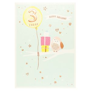 Pancake 3 today owl birthday card