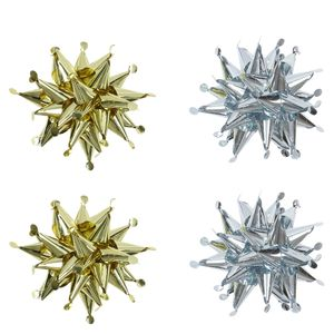 Metallic circle spikey Christmas bows - pack of 4