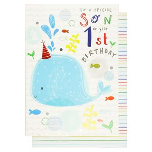 Scribbles special son 1st birthday card