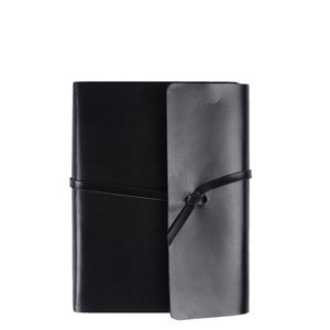 A6 black leather notebook