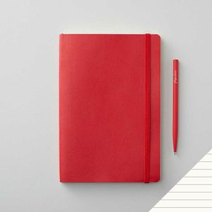 Agenzio soft red ruled medium notebook