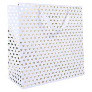 XL gold hearts gift bag