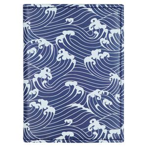 Navy waves passport case