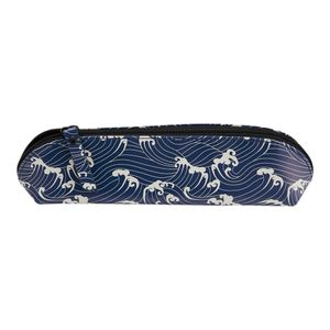Agenzio navy waves oval pencil case