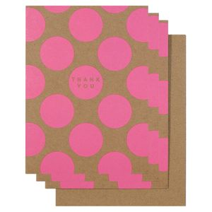 Pink spotty thank you cards - pack of 10