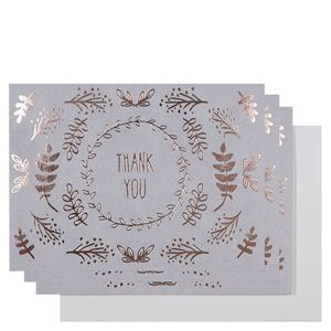 Rose gold leaves thank you cards - pack of 10