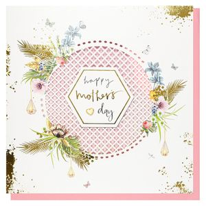 Lattice white floral Mother's Day card