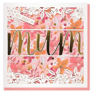 White laser cut flowers Mother's Day card