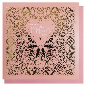 Gold & pink laser cut Mother's Day card